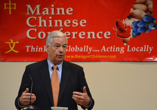 U.S. Rep. Mike Michaud, D-Maine, speaks to a crowd at the Maine Chinese Conference at Husson University in Bangor on Saturday, Oct. 27, 2012.