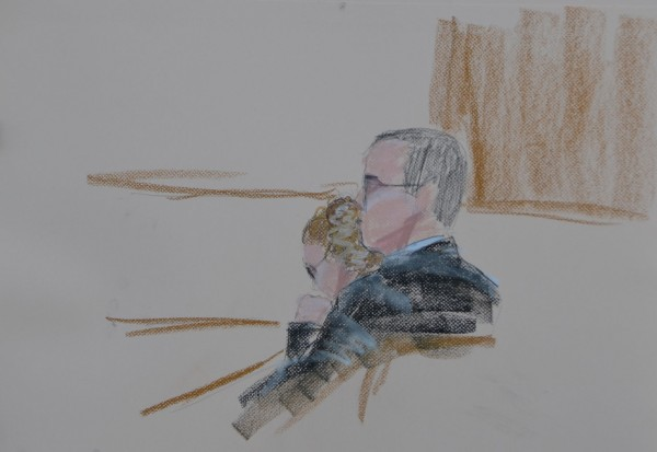 In a courtroom sketch by Lenora Leibowitz, the 11-year-old girl charged with manslaughter in the death of a 3-month-old baby sits next to her attorney John Martin of Skowhegan in Skowhegan District Court on Monday, Oct. 22, 2012.
