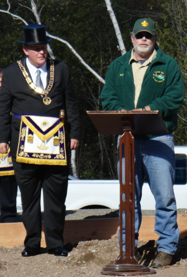 Grand Master of Masons of Maine James Ross (left) and Troop 132 Scout Master Ray Smale were among who participated in the ceremonial cornerstone laying for a new building to house scouting activities in Calais.