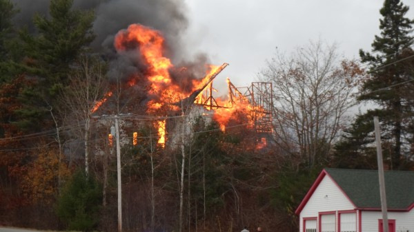 Fire levels the First Baptist Church on Liberty Hill Road in Pembroke on Monday, Oct. 29, 2012.