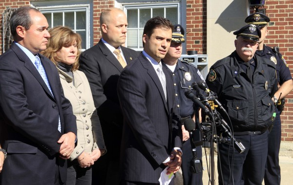 New Hampshire Assistant Attorney General James Vara (center) gives a news conference in Dover, N.H. on Saturday, Oct. 13, 2012 in Dover, N.H. announcing that University of New Hampshire student, Elizabeth &quotLizzi&quot Marriott who disappeared earlier in the week, is dead, and a man has been charged with second-degree murder.
