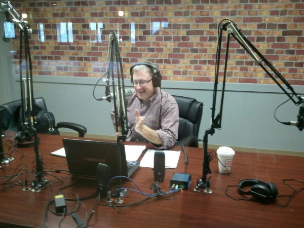 Rich Kimball broadcasts his Downtown with Rich Kimball radio show in the new studio at Seasons restaurant on Main Street in Bangor.