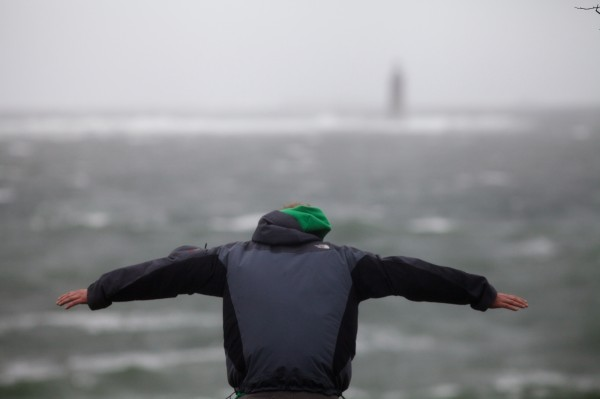 A man leans into the stiff wind at Fort Williams Park in Cape Elizabeth on Monday, Oct. 29, 2012 as Hurricane Sandy's effects began to be felt.