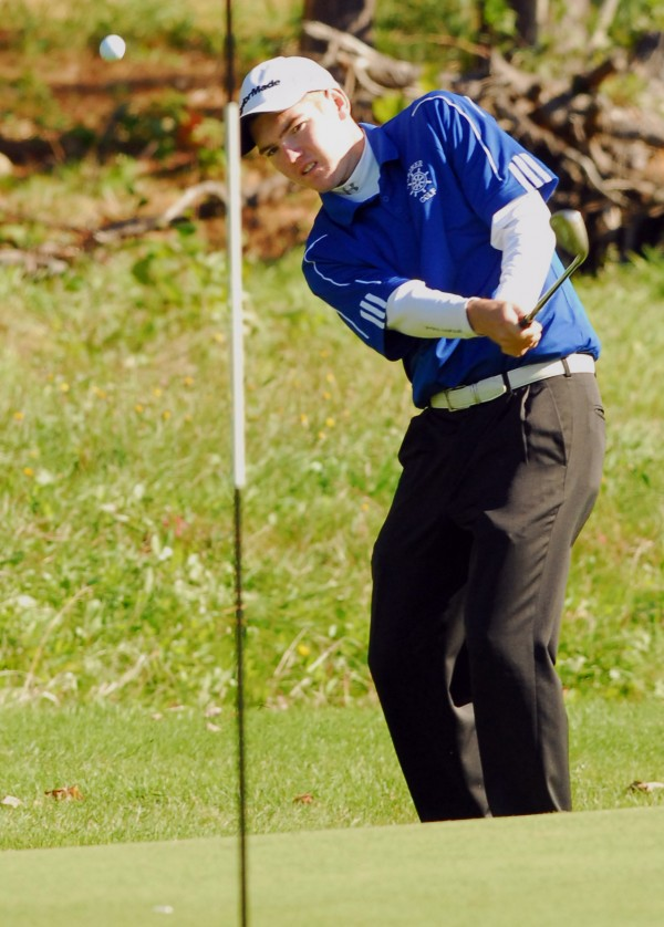 Deer Isle-Stonington's Sam Grindle said it wasn't a case of hitting every shot straight down the middle when he won the Class C state golf title on the Arrowhead Course at Natanis Saturday.
