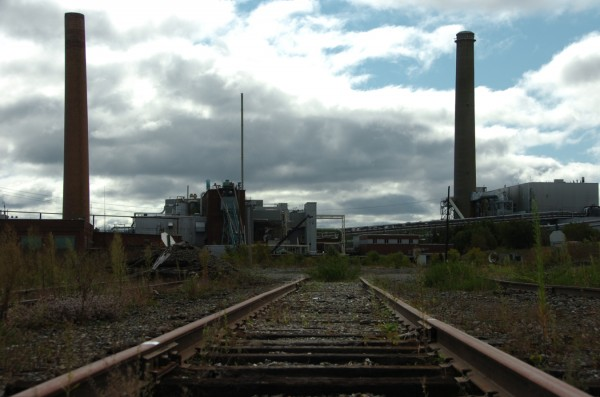 Dormant rails lead to the shuttered paper mill in Millinocket. Photographed Friday morning, Sept, 16, 2011.
