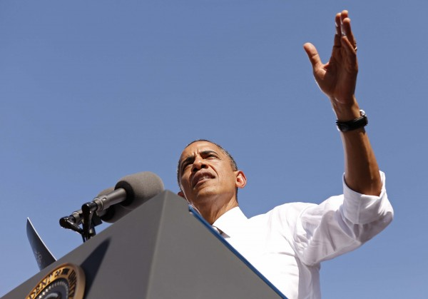U.S. President Obama speaks during a campaign rally in Richmond, Va., on Thursday.