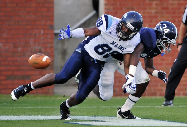 Damarr Aultman (88) of the Unviersity of Maine, seen here in last season's playoff game at Georgia Southern, caught two touchdown passes in the Black Bears' 26-3 victory over Delaware on Saturday.