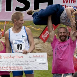 Maine couple wins wife carrying championship, wife's weight in beer