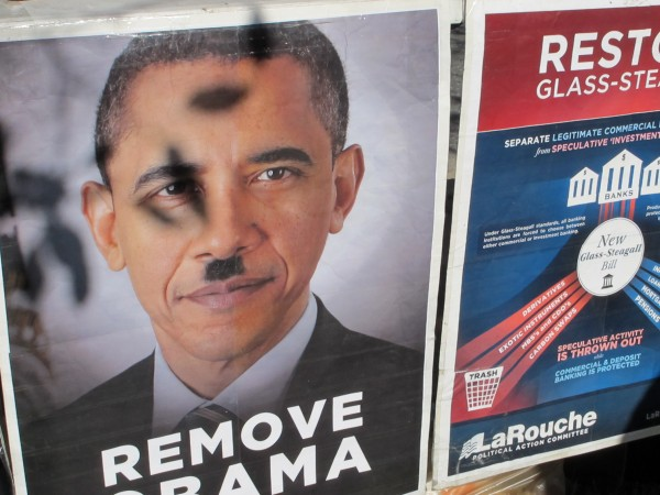 Larouche PAC has been circulating the Obama-Hitler poster for about four years, according to a spokeswoman.