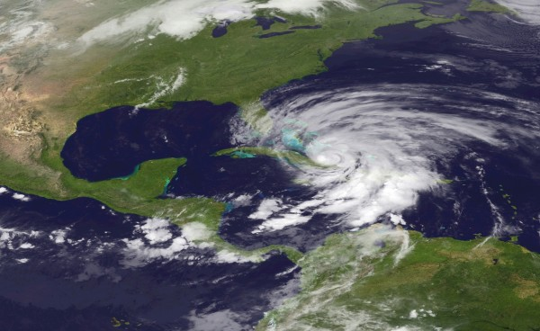 Hurricane Sandy is seen churning northward in this NOAA handout satellite image taken on Oct. 25, 2012. The hurricane, strengthening rapidly after crossing the warm Caribbean Sea, slammed into southeastern Cuba early on Thursday with 105 mph winds that cut power and blew over trees across the city of Santiago de Cuba.