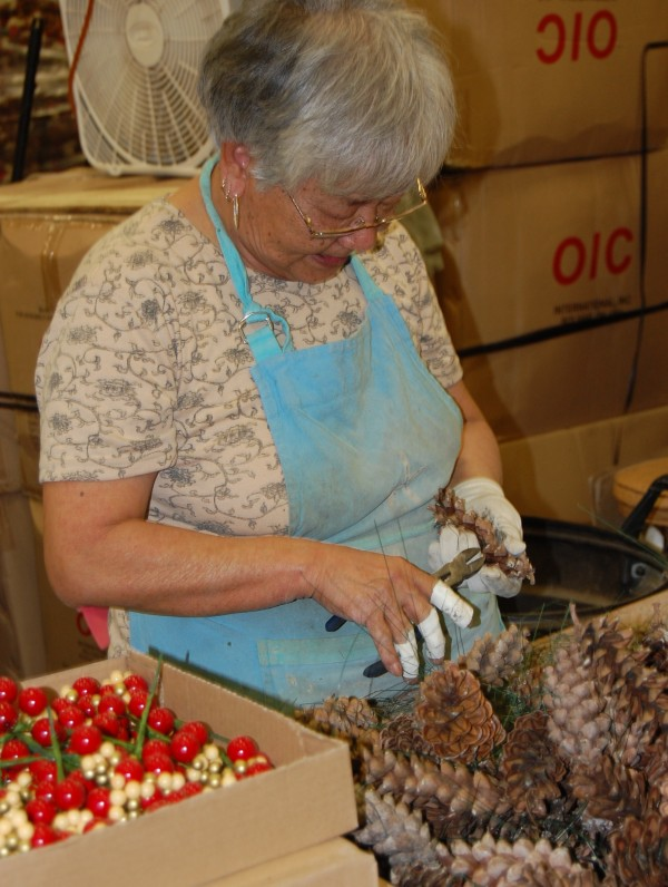 Kim Crosby of Machiasport has been assembling wreaths for Whitney Wreaths for 11 years.
