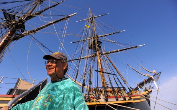 Robin Wallbridge, captain of the HMS Bounty, the replica ship that was built for the 1962 movie &quotMutiny on the Bounty&quot with Marlon Brando, poses with the ship in Belfast in August 2012.