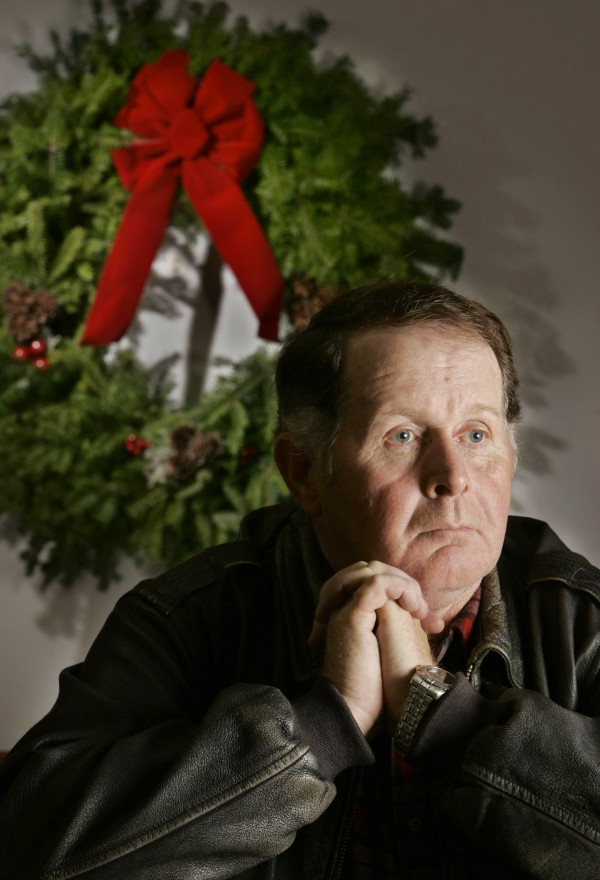 Morrill Worcester poses at his wreath-making company in Columbia, Maine in December 2006.