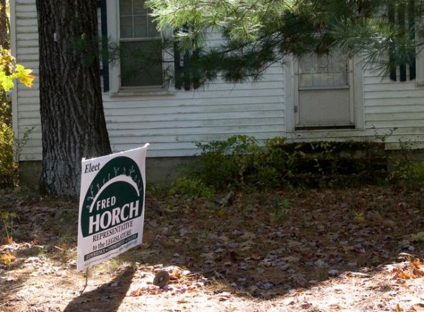 A Fred Horch campagin sign sits in the front yard of Brunswick Republican Committee Chairman Jonathan Crimmins on Jordan Avenue. Some local Republicans and Democrats said the Green Independent Party candidate's sign raises questions about Crimmins' leadership; the GOP leader said the sign belongs to his wife.