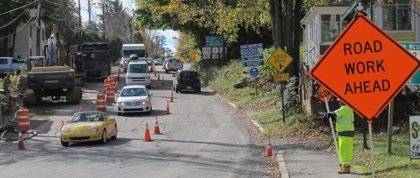 Drivers on Monday, Oct. 22, make their way slowly down Bridge Hill in Ellsworth, one of several sites of recent and ongoing roadwork on main roads leading into and out of downtown.