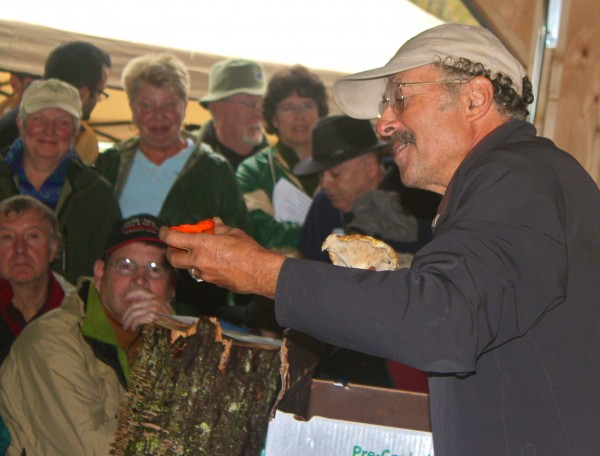 Mushroom expert Richard Tory of Canaan shows a crowd of 80 people a lobster mushroom during his presentation &quotTop 10 Choice Edible Mushrooms&quot on Sept. 30 at the annual mushroom event hosted by Kennebec Messalonskee Trails in Waterville.