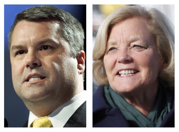 These 2012, file photos show Maine Republican Jon Courtney (left) who will face Democratic incumbent U.S. Rep. Chellie Pingree for the 1st Congressional District seat in the Nov. 6, 2012 general election.
