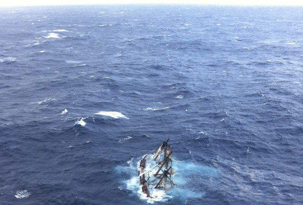 The HMS Bounty, a 180-foot sailboat, is shown submerged in the Atlantic Ocean during Hurricane Sandy approximately 90 miles southeast of Hatteras, North Carolina, in this U.S. Coast Guard handout picture taken October 29, 2012.