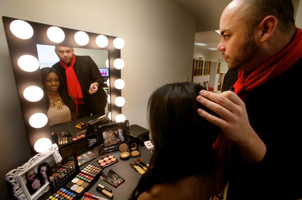 Makeup and hair adviser Noel Garcia Rivera of Puerto Rico works with Miss Bahamas Universe, Celeste Marshall, in Scarborough on Wednesday, Oct. 24, 2012 in preparation for the next Miss Universe pageant.