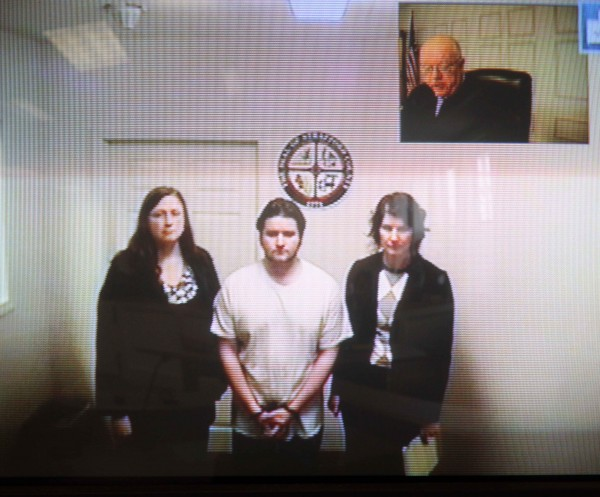 Seth Mazzaglia (bottom center) is seen during his video arraignment from the Strafford County jail in Dover, N.H. to the district court in Dover on Monday, Oct. 15, 2012. Mazzaglia was charged with killing Elizabeth &quotLizzi&quot Marriott, a 19-year-old University of New Hampshire student.