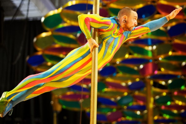 A Cirque du Soleil performer practices high off the stage in Portland Monday Oct. 8, 2012. Saltimbanco, Cirque du Soleil's longest running show, has been on the road for 20 years and makes its first apperance in Maine Wednesday through Sunday at the Cumberland County Civic Center in Portland.