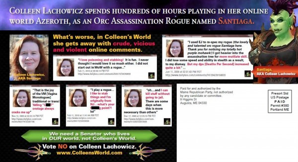 A mailer distributed by the Republican party which attacks Democratic state senate candidate Colleen Lachowicz for playing online games is seen in this handout image obtained by Reuters October 5, 2012.