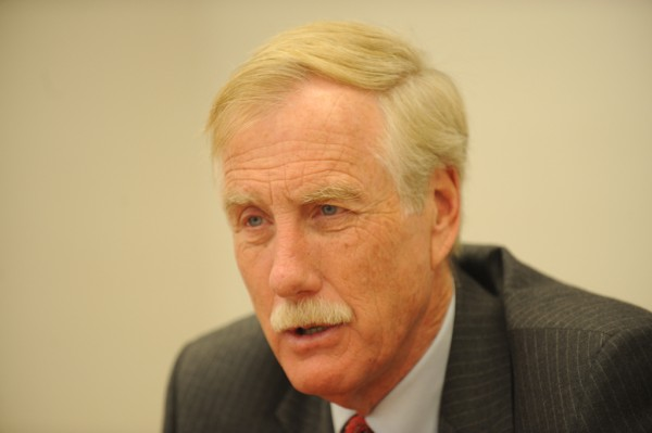 Former Maine Gov. Angus King, now a candidate for U.S. Senate,  meets with the Bangor Daily News editorial board Wednesday, Oct. 17, 2012.