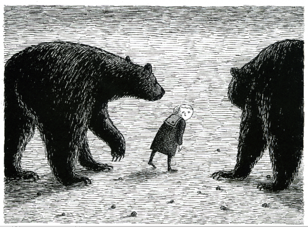 &quotBasil, assaulted by bears&quot is from The Gashlycrumb Tinies and an example of the macabre illustrations that made Edward Gorey famous, and is one of the pieces to be displayed in a Portland exhibition organized by the Edward Gorey Charitable Trust and the Brandywine River Museum of Chadds Ford, Penn. The exhibit will be hosted by the Portland Public Library and opens Friday, Oct. 5, 2012.