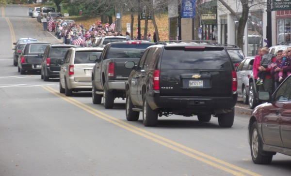 A lengthy motorcade followed the hearse from Bowers Funeral Home in Houlton that returned Sgt. 1st Class Aaron Henderson to Houlton on Monday, Oct. 8, 2012. Henderson, who grew up in Hodgdon, died at Bagram Air Force Base in Afghanistan on Oct. 2 from wounds suffered in an improvised explosives device attack on Sept. 30 in Helmand Province, Afghanistan.