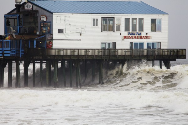 The Patio Pub Restaurant in Old Orchard Beach stands out in the high surf the day Hurricane Sandy on Tuesday, Oct. 30, 2012.