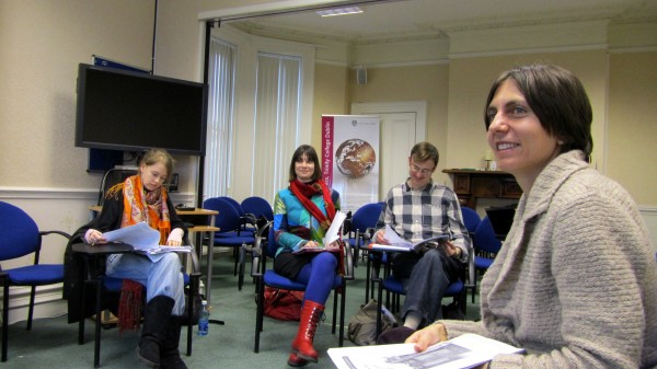 Gladys Ganiel, a native of Harrington, Maine, teaches a recent class in Social Research for Transformation at Trinity College Dublin at Belfast, Northern Ireland. The students are (from left) Sinead Walsh from Ireland, Julie Fiala from Canada and Jonathan Clynch from Ireland.