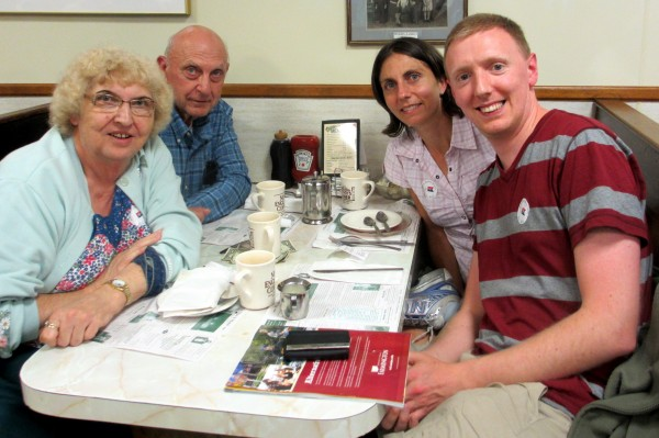 Gladys Ganiel (right, rear), now an assistant professor in Belfast, Northern Ireland, was back in a Maine for a visit this past July when her parents, Carl and Jennie Ganiel, and husband Brian O'Neill, had lunch at Moody's Diner in Waldoboro.