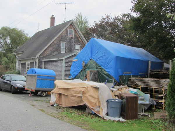 The structure with the blue roof cover was at the center of a land-use lawsuit filed by Rockland against Harold Dale Hayward who is now seeking a seat on the Rockland City Council.