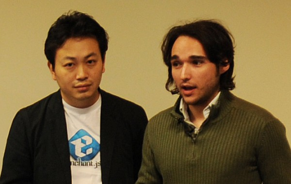 Ryo Shimizu (left) and Brandon McInnis of Ubiquituos Entertainment Inc. of Japan hold a game code camp at the Dyke Center for Family Business on Monday, Oct. 15, 2012.