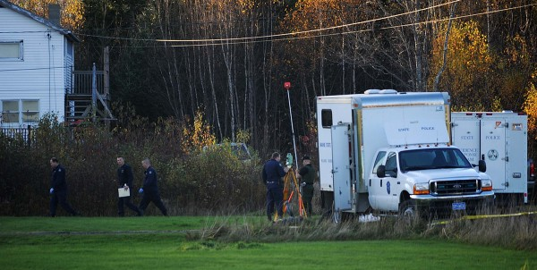 State police and several of their evidence response team mobile units could be seen at the end of Bobolink Drive in Lamoine around 5 p.m. Tuesday, Oct. 23, 2012. Maine State Police continued to investigate the scene there where two men were fatally shot early Tuesday morning.