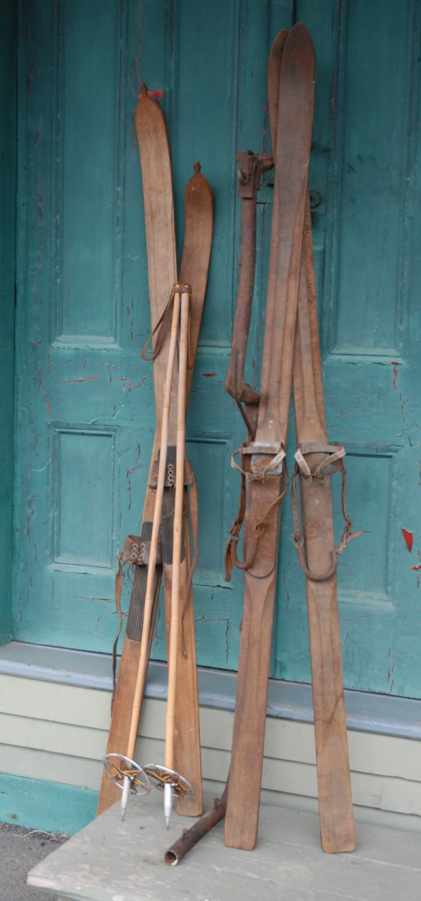 A selection of skis and a section of the old Michaud Hill Chair Lift are on display at the Fort Kent Historical Society. Later this month Walter Stadig, ski maker and builder of Maine's first chairlift will be inducted into the Maine Ski Hall of Fame.