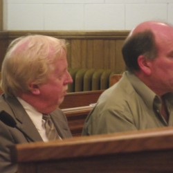 William Barton of Mars Hill (right) listens as he is sentenced in Aroostook County Superior Court in Caribou on Wednesday, Oct. 31, 2012. His attorney, Alan Harding of Presque Isle, sits at his side. Barton was sentenced to prison, restitution and fines for a fatal Sept. 2011 accident that killed Nathan York, 51, of Medway, and severely injured Herb Young,53, a passenger in the vehicle. Jerome York, Nathan York's son, escaped injury.