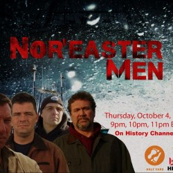 "This image advertises the History Channel's new reality show ""Nor'easter Men,"" which debuts Thursday, Oct. 4, 2012, and features a fishing crew from Harpswell."