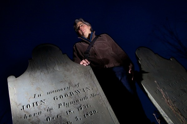 Martha Zimicki, president of Spirits Alive, stands in Portland's Eastern Cemetery after dark Tuesday Oct. 23, 2012. Her group, along with actors from Acorn Productions, will lead War of 1812-themed tours this weekend featuring live, dramatic interpretations of some of the burial ground's more interesting permanent residents.