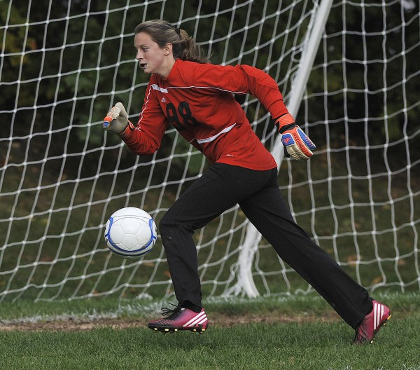 Bucksport High School girls soccer goalkeeper Alanna Davis tracks down a ball during a game against Orono on Tuesday, Oct. 2, 2012, in Orono. The game ended in a 1-1 double-overtime tie.