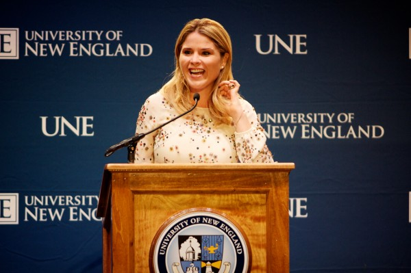 Jenna Bush Hager delivers the University of New England's 2012 George and Barbara Bush Distinguished Lecture on Monday, Oct. 8, 2012 in the Harold Alfond Forum on UNE'€™s Biddeford Campus. Hager's lecture topic was &quotThe Power of Compassion and How it Can Change Lives.&quot Her grandparents, George and Barbara Bush were also in attendance.