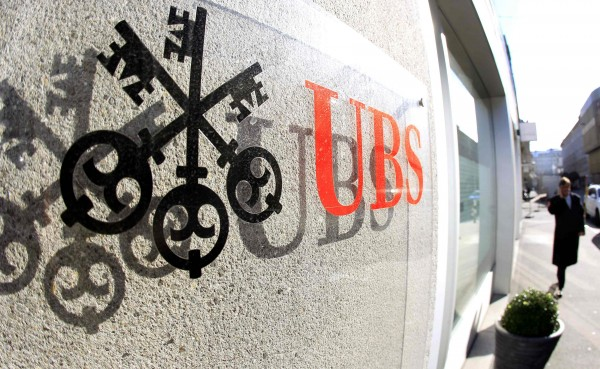 A logo of Swiss bank UBS is seen at an office building in Zurich on Oct. 30, 2012.