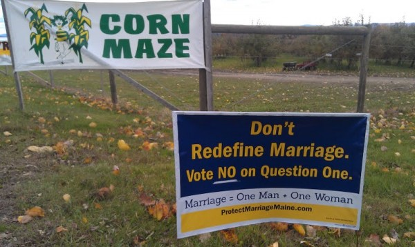 A political sign calling for &quotNo&quot votes on Question 1 in the approaching November election is posted at the corner of Union Street and Pember Road, next to Treworgy Family Orchards in Levant. The family's decision to post a political sign stating &quotDon't redefine marriage. Vote 'No' on Question 1,&quot outside of a family home, which is located next to the business, sparked a flurry of Facebook activity, drawing some to support the business and prompting others to call for boycotts.