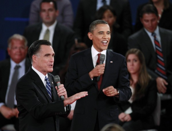 U.S. President Barack Obama and Republican presidential nominee Mitt Romney (left) speak at the same time during the second U.S. presidential campaign debate in Hempstead, New York on Oct. 16, 2012.