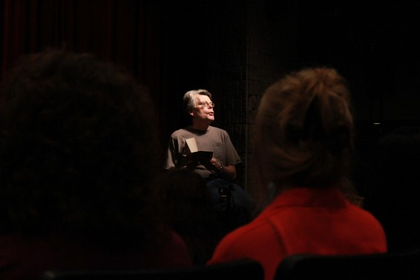 Author Stephen King speaks to a group of about 80 students at Sussex Regional High School in October 2012. The world-famous author drove from Maine and surprised students with an impromptu discussion on writing, following an arduous campaign by the school to convince him to visit.