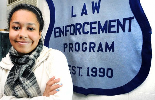 Lewiston Regional Technical Center student Natalia Atkins takes a break from her law enforcement class at Lewiston High School in October 2012.