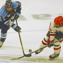 Two late third-period goals lift St. Lawrence hockey team to sweep of Maine