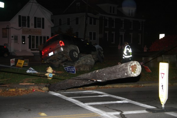 Rockland police and emergency crews responded to a car crash at the busy downtown intersection of Main and North Main streets Sunday night.
