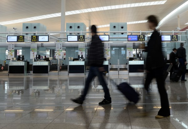 The empty Delta Air Lines check-in area at the international airport in Barcelona, Spain, Tuesday, Oct. 30, 2012.