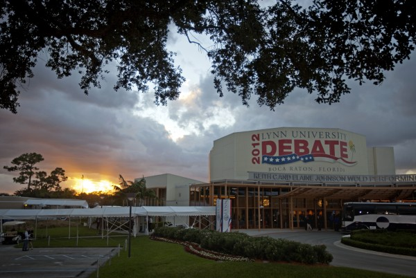 The sun sets ahead of the presidential debate between Republican presidential candidate, former Massachusetts Gov. Mitt Romney and President Barack Obama, at Lynn University, Monday, Oct. 22, 2012, in Boca Raton, Fla.